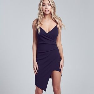 SLEEVELESS CROSS OVER FRONT ASYMMETRIC MINI DRESS